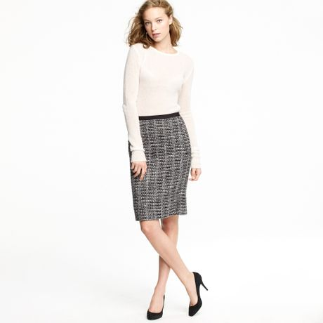 j crew no 2 pencil skirt in midnight tweed in gray ivory