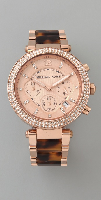 lyst michael kors parker glitz chronograph watch in pink. Black Bedroom Furniture Sets. Home Design Ideas