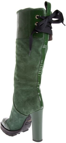valentino high heel boot in green lyst