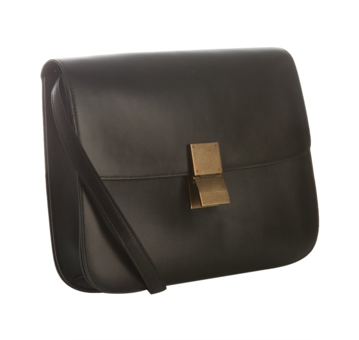 C¨¦line Black Leather Classic Box Medium Shoulder Bag in Black | Lyst