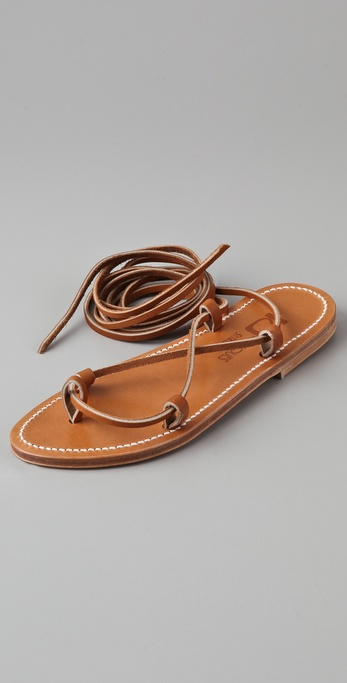 K Jacques Bikini Ankle Wrap Sandals In Brown Lyst