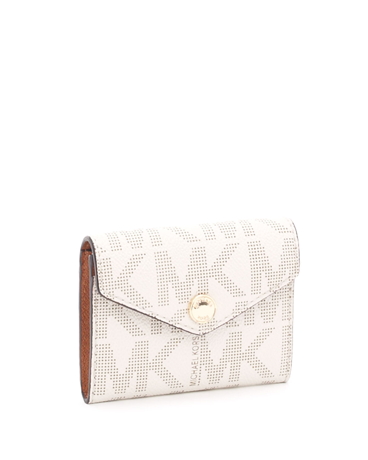 Lyst michael michael kors logo business card holder brown in natural gallery colourmoves