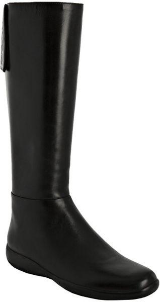 prada sport black nappa leather flat boots in black lyst