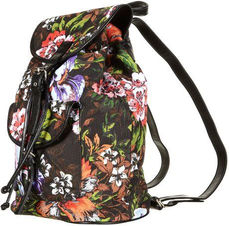 Topshop Tropical Print Backpack Bag In Black Lyst
