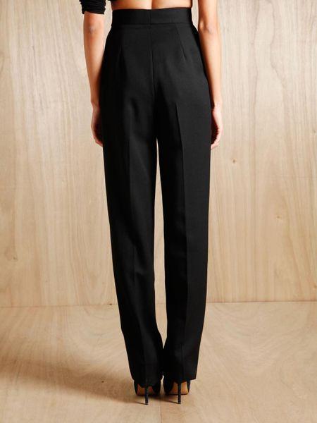 Perfect Saint Laurent Womens Leathertrim Tuxedo Pants In Black  Lyst