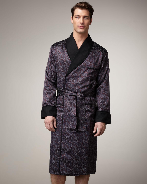 Lyst - Stefano Ricci Silk Paisley Robe in Black for Men