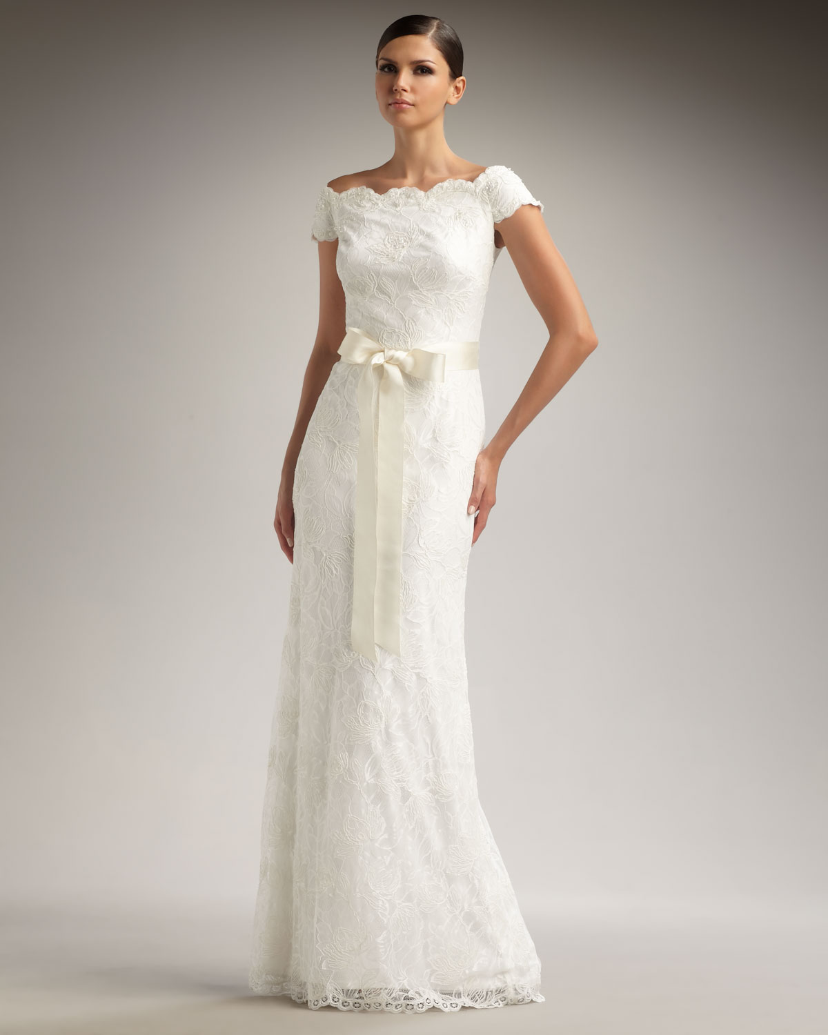 9d4e1603649 Lyst - Tadashi Shoji Off-the-shoulder Lace Gown in White