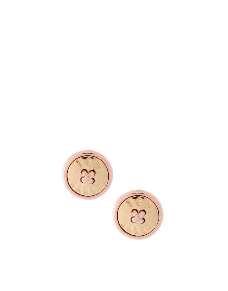 8f6894ee4 Ted Baker Rose Gold With Gold Inset Stud Button Earrings in Metallic ...