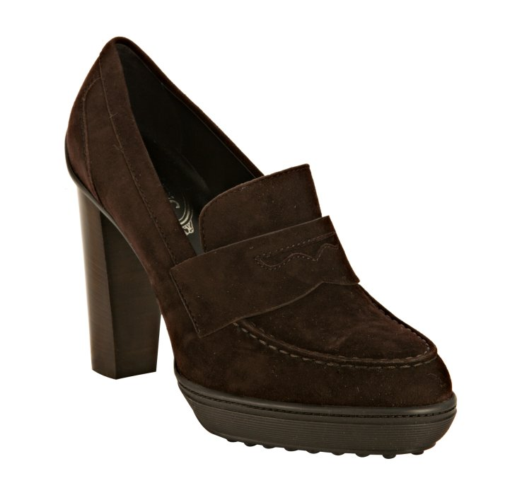 Tod S Suede Moc Stitched Heeled Penny Loafers In Brown Lyst