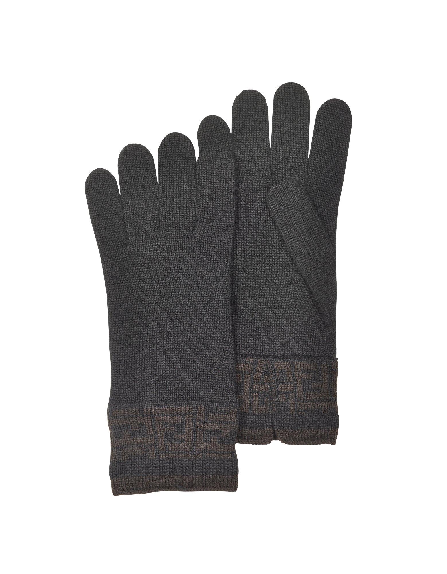 36188242ab06 Lyst - Fendi Womens Zucca Logo Cuff Knit Wool Gloves in Black