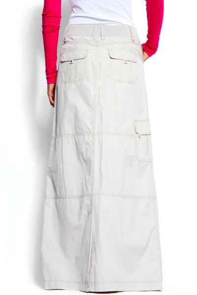 mango a line shape cargo style maxi skirt in white 25 lyst