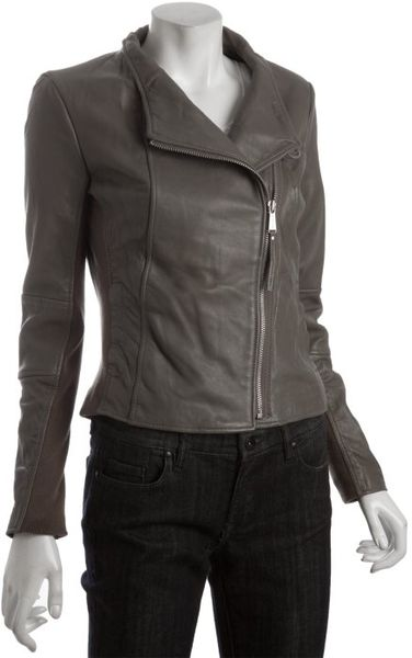 Michael Michael Kors Taupe Leather Asymmetrical Zip Knit Trim Jacket in Brown (taupe)