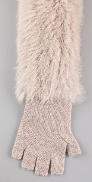 3.1 Phillip Lim Fur Long Fingerless Gloves in Beige | Lyst