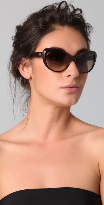 Gucci Cat Eye Sunglasses  gucci rounded cat eye sunglasses in brown lyst