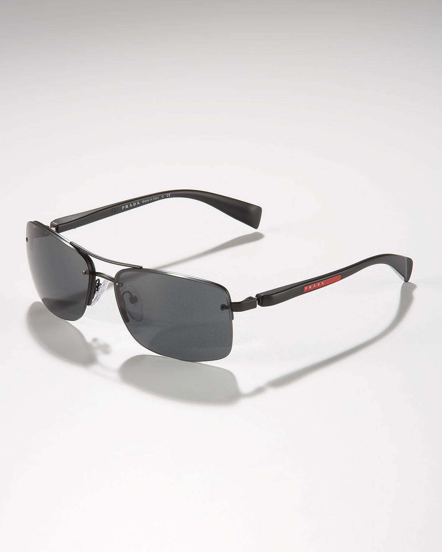 Prada Shield Sunglasses  prada rimless shield sunglasses in black for men lyst