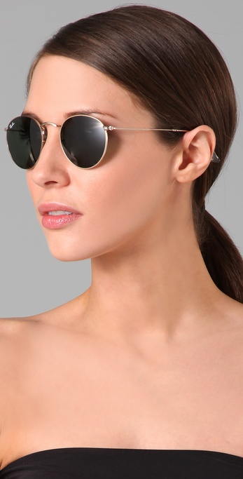 a8eca591cbf ... official store lyst ray ban retro round metal sunglasses in metallic  4eb94 1d3ef