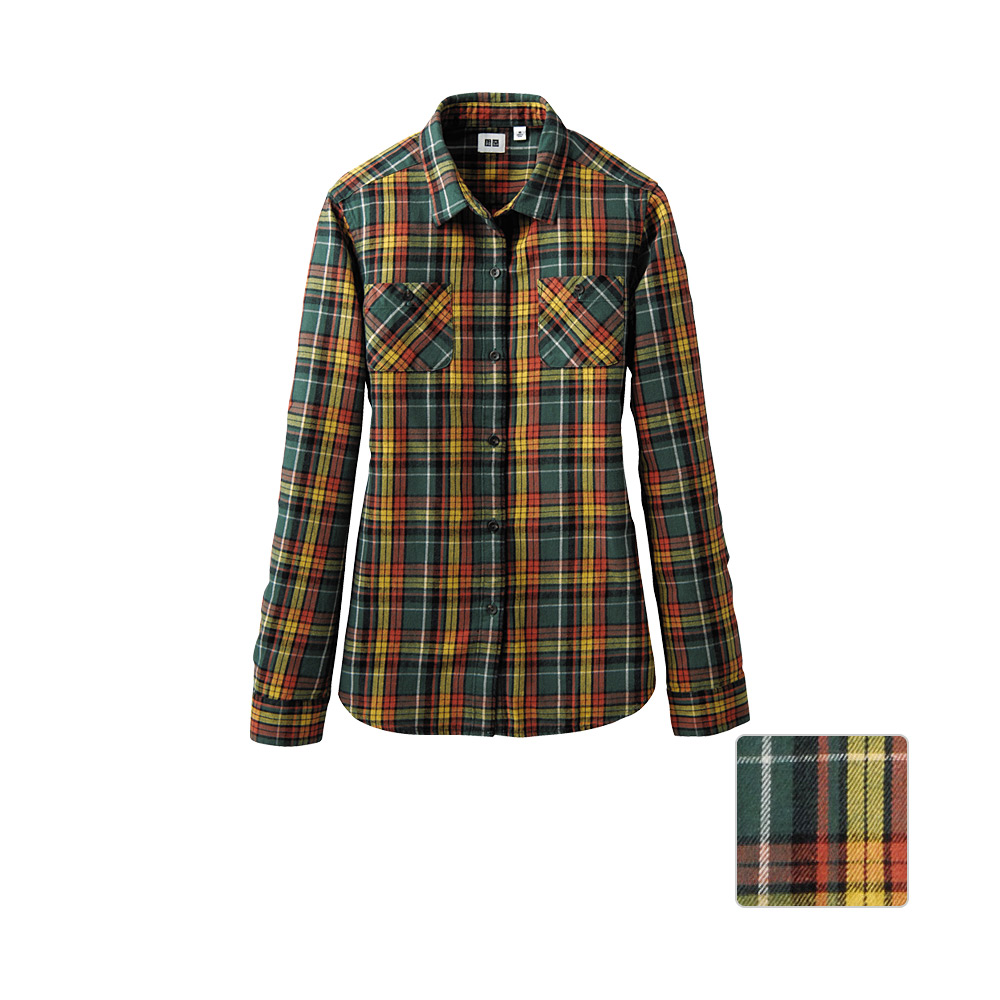 Uniqlo women flannel check double pocket long sleeve shirt for Womens yellow long sleeve shirt