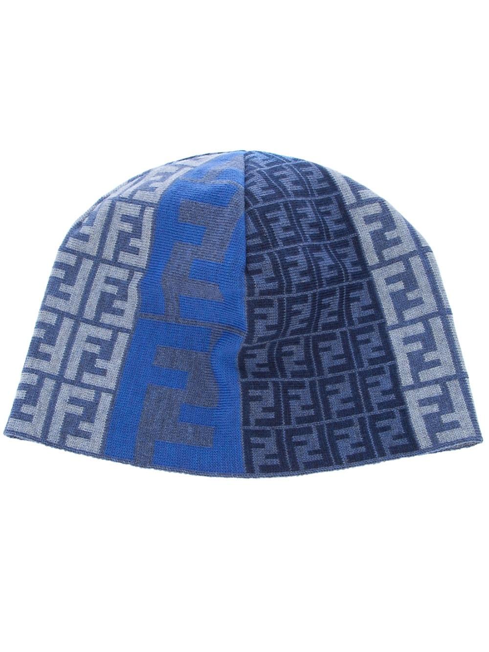5c96026ace8 Fendi Monogram Beanie Hat in Blue for Men - Lyst