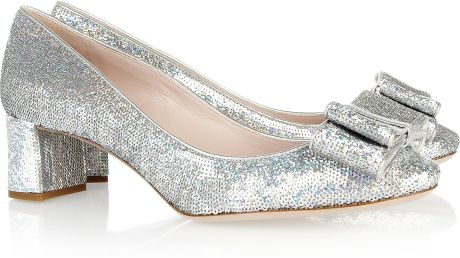 Miu Miu Sequined Leather Pumps in Silver