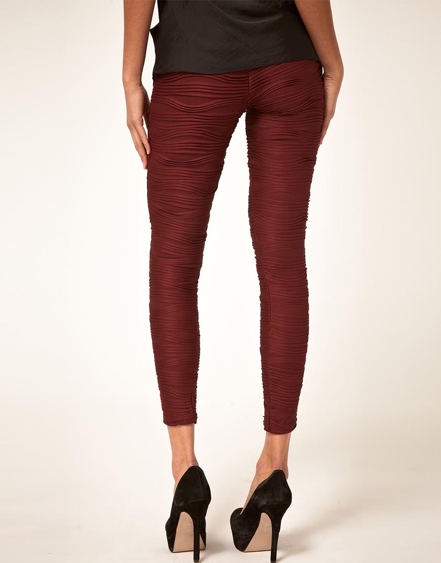 180374ed77cfa Lyst - ASOS Collection Asos Premium Pleated Leggings in Black