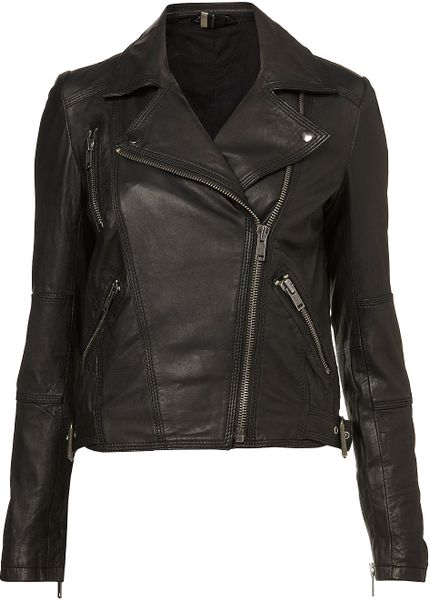 Topshop Traditional Biker Jacket in Black