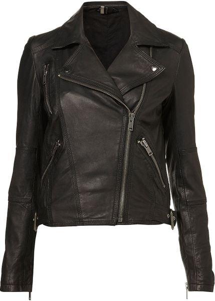 Topshop Traditional Biker Jacket in Black