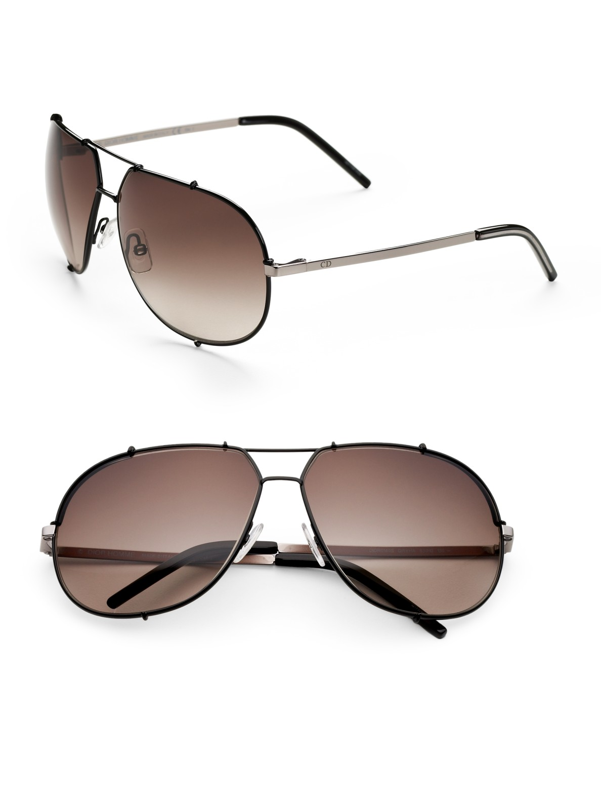 312562bf17215 Lyst - Dior Homme Metal Aviator Sunglasses in Brown for Men