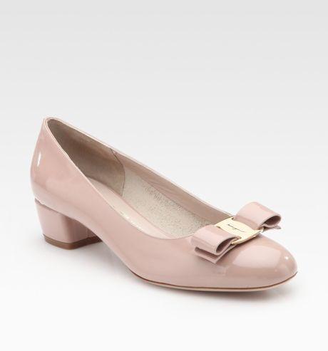 ferragamo low heel shoes in pink bisque lyst