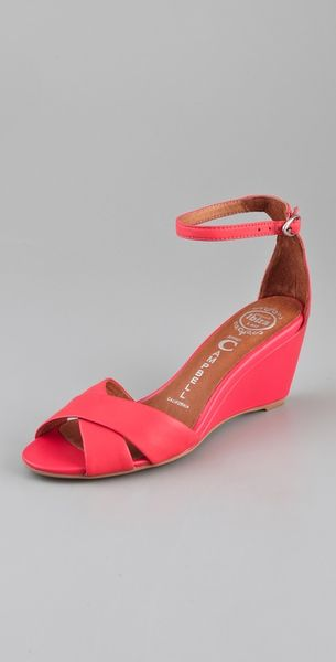 Jeffrey Campbell Trudeau Wedge Sandals In Pink Coral Lyst