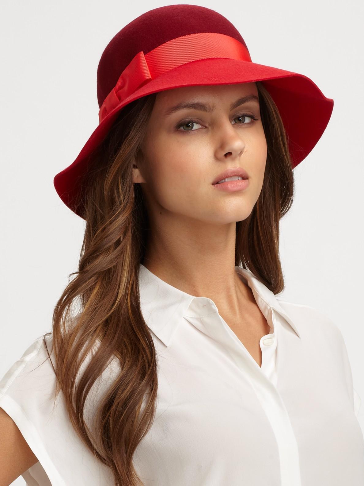 Lyst - Kate Spade New York Walker Park Wool Felt Hat in Red d0daacbb60c