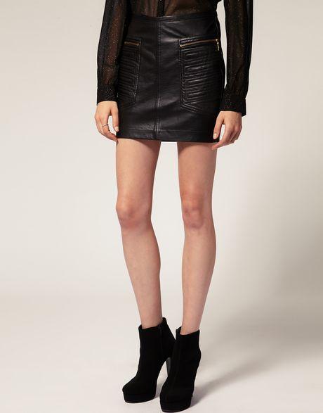 mango leather panelled mini skirt in black lyst