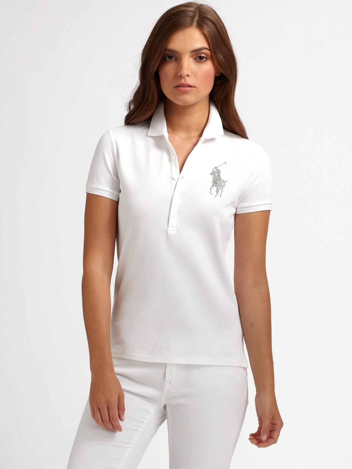 cc07f3bd30 Lyst - Ralph Lauren Blue Label Swarovski Crystal Stretch Polo in White