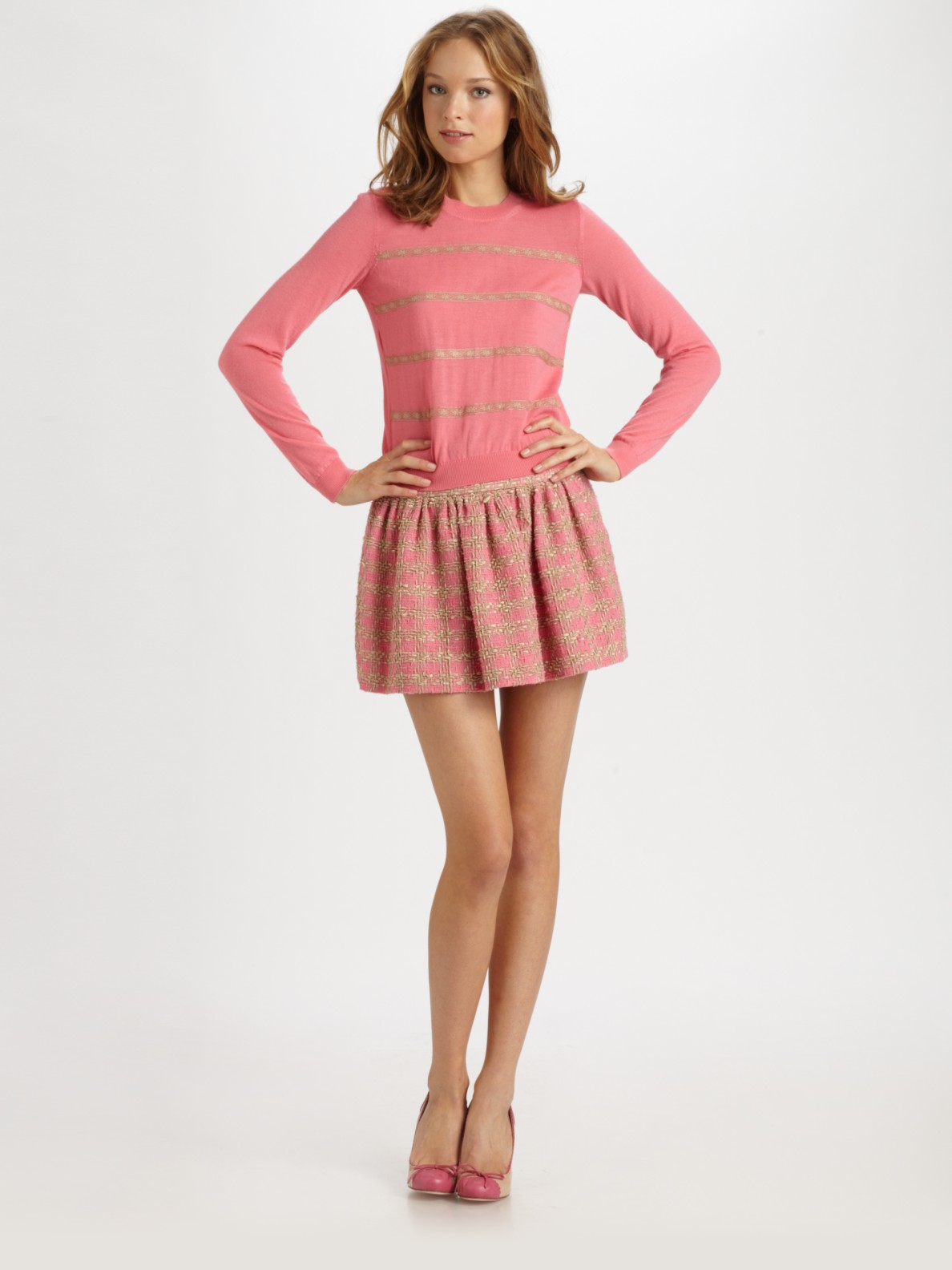 Lyst Red Valentino Macro Boucle Skirt In Pink