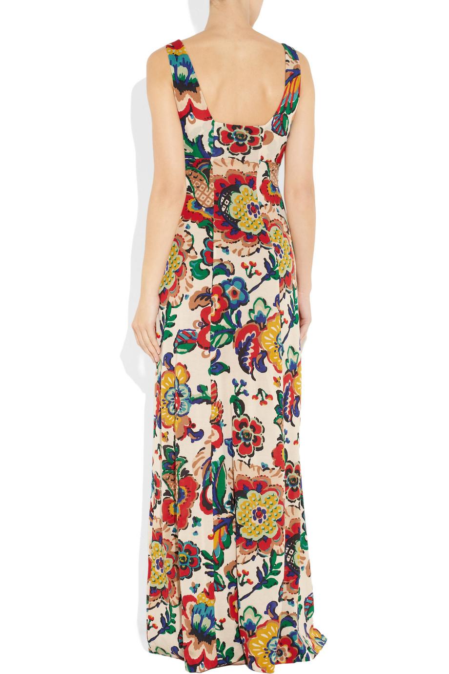 Tory Burch Coral Silk Blend Maxi Dress Lyst
