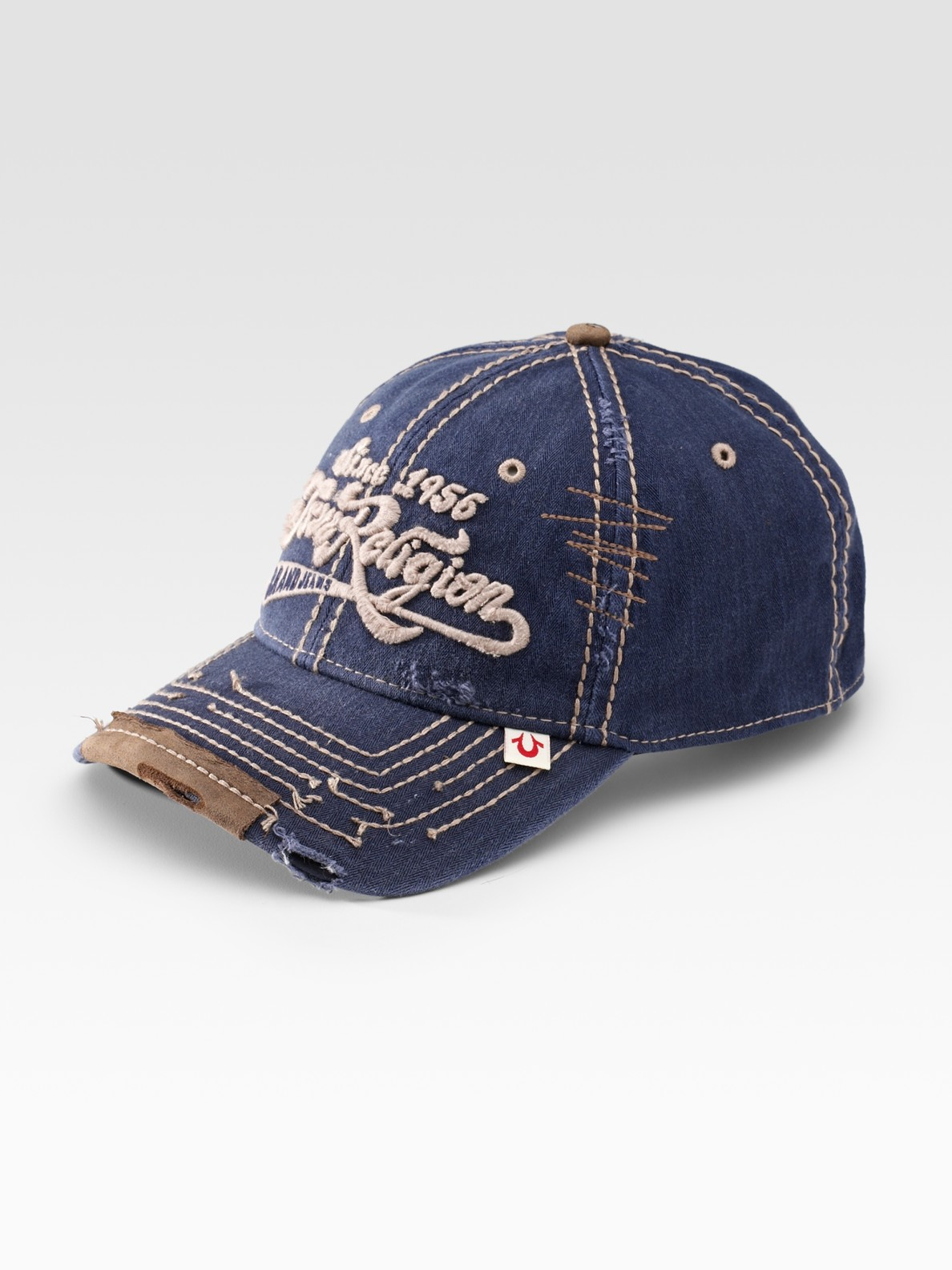 true religion script logo baseball cap in blue for men lyst. Black Bedroom Furniture Sets. Home Design Ideas