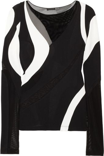 Donna Karan New York Paneled Mesh and Jersey Top - Lyst