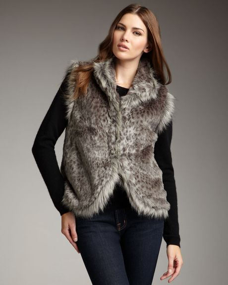 Lauren Hansen Faux-fur Vest in Gray (grey leopard)