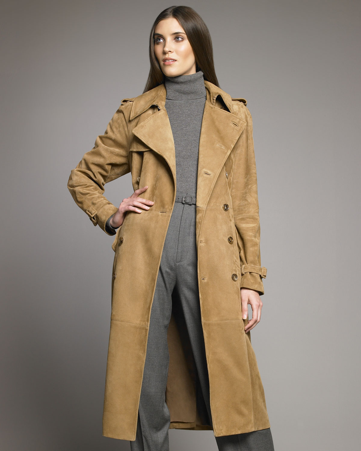 Gallery - Ralph Lauren Collection Alana Suede Trench In Brown Lyst