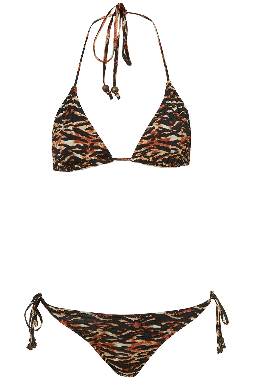 68a7e63cdb90a Lyst - TOPSHOP Black Tiger Print Bikini in Black
