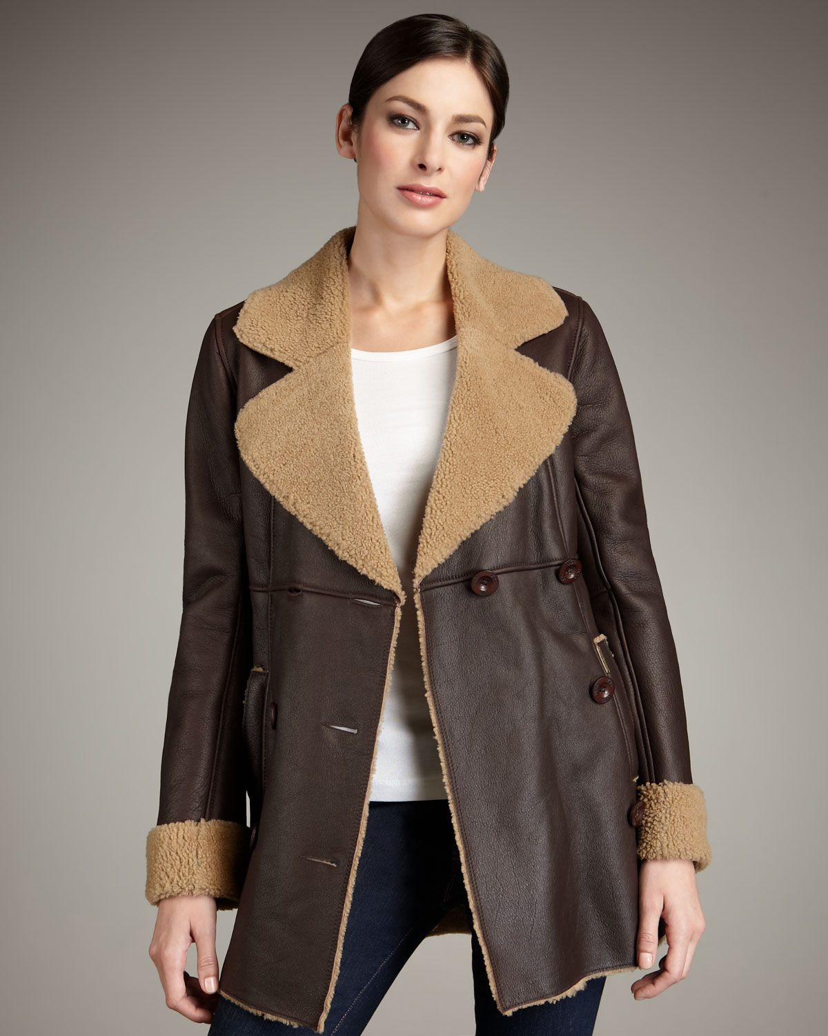 Ugg Lequoia Shearling-lined Coat in Brown | Lyst