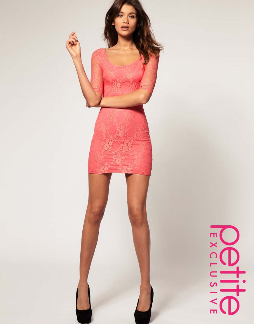 3a8d0d6b2f Lyst - ASOS Collection Asos Petite Exclusive Lace Dress with Cut Out ...