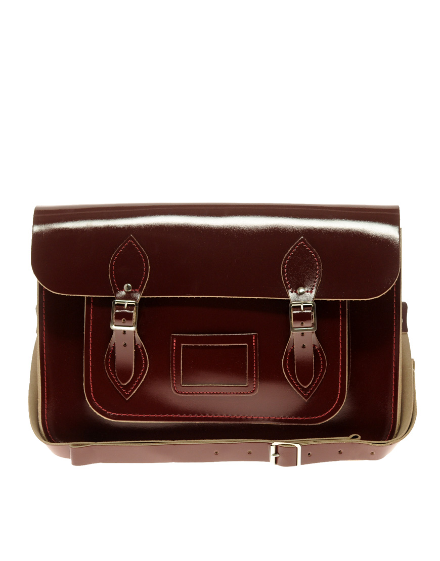 Cambridge Satchel Company Exclsuive To Asos Oxblood Patent Satchel in Red - Lyst