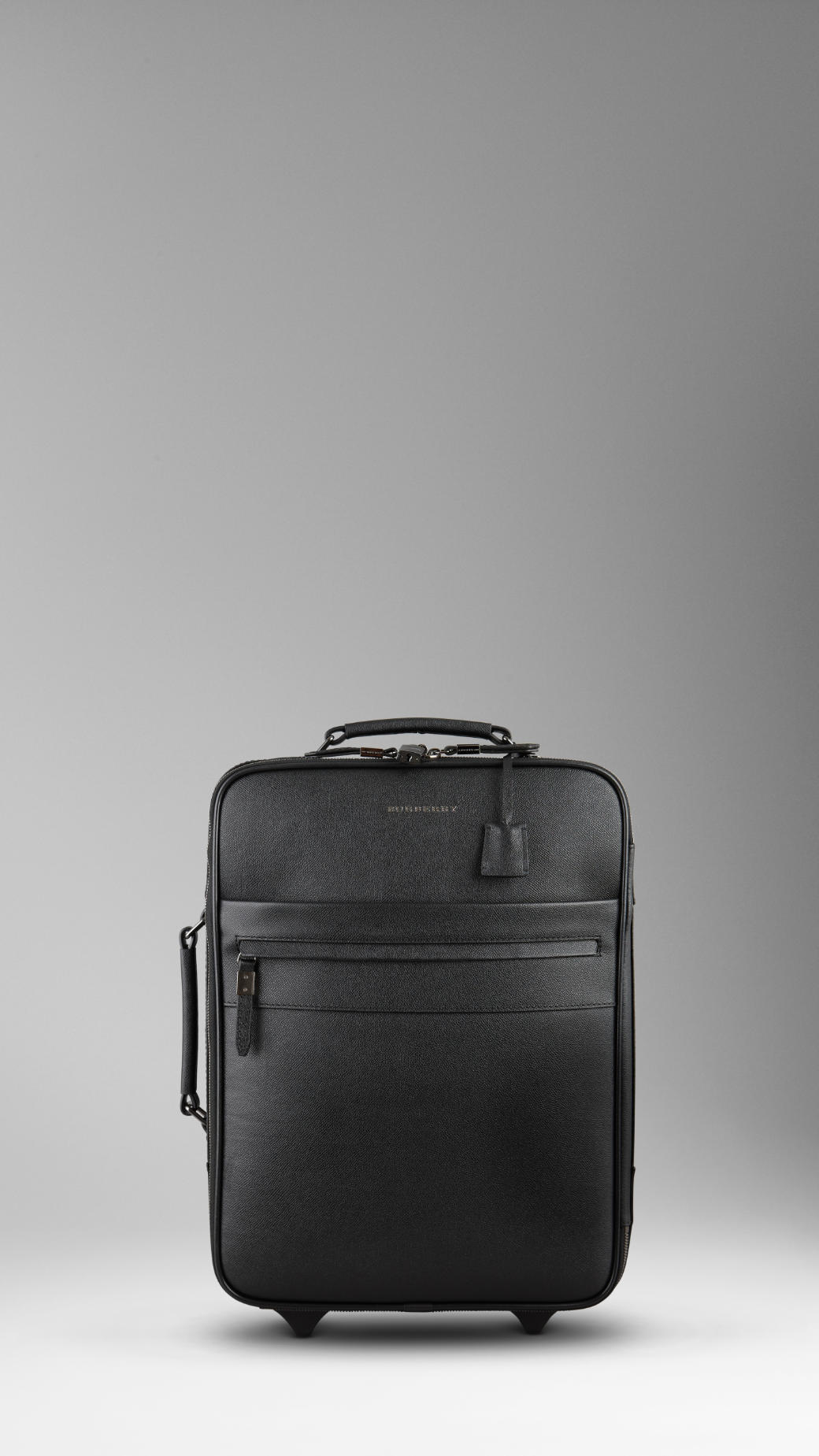 Burberry Leather Carry On Suitcase in Black for Men | Lyst