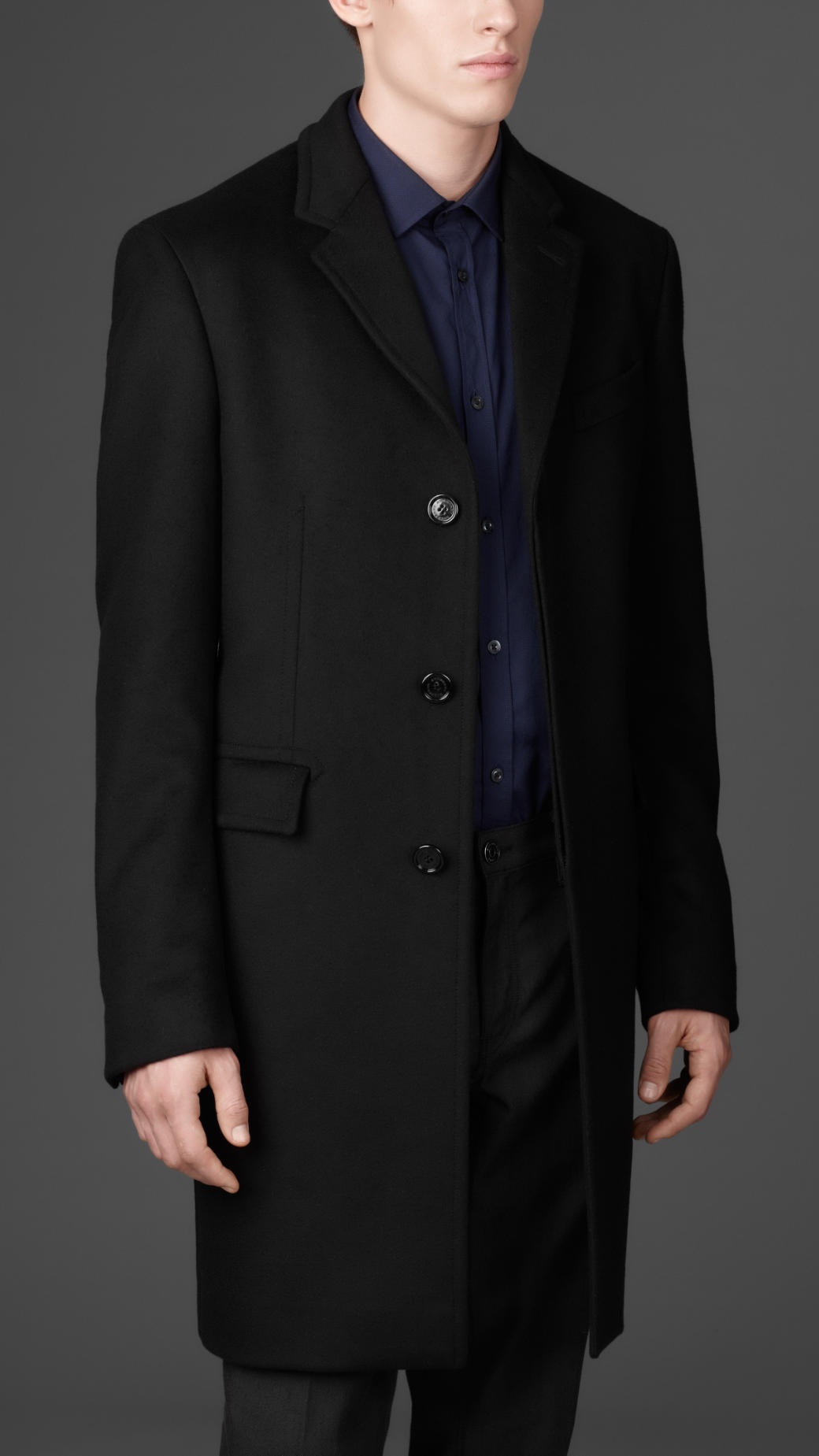 Burberry Long Wool Cashmere Top Coat in Black for Men | Lyst