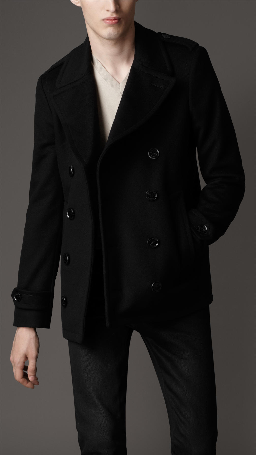Burberry Wool and Cashmere Pea Coat in Black for Men | Lyst