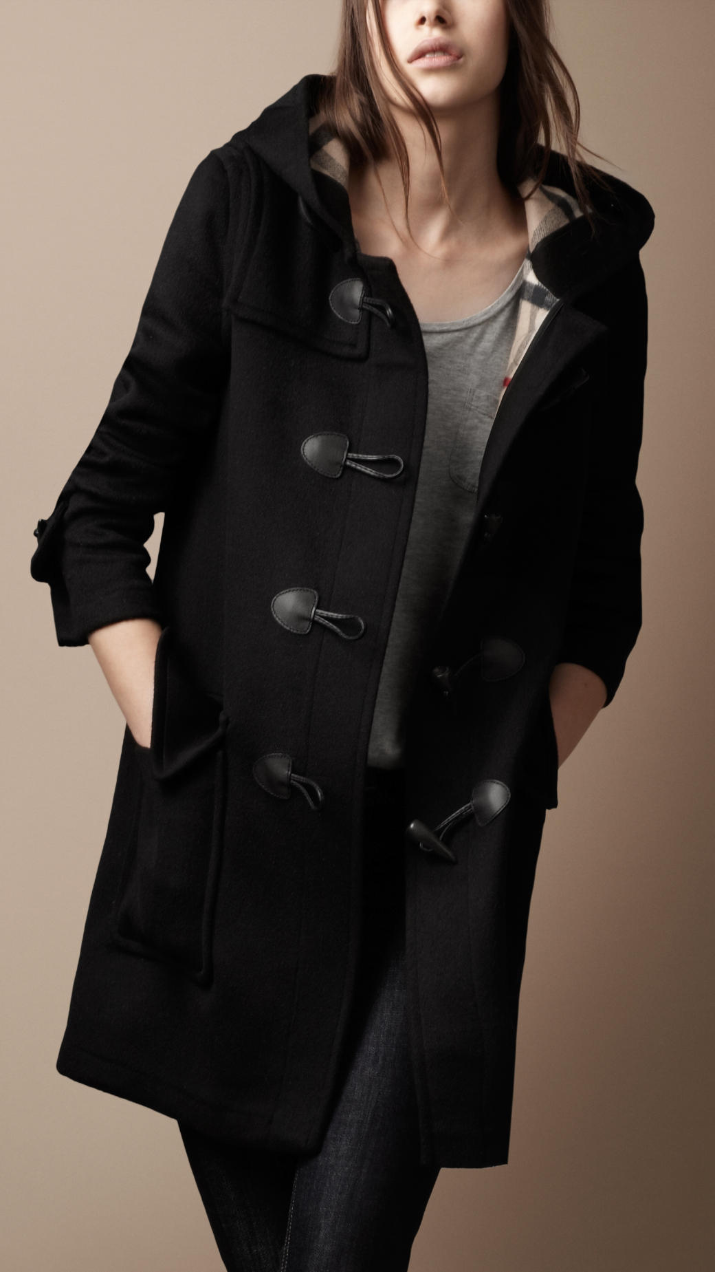 Burberry brit Wool Duffle Coat with Check Lining in Black | Lyst