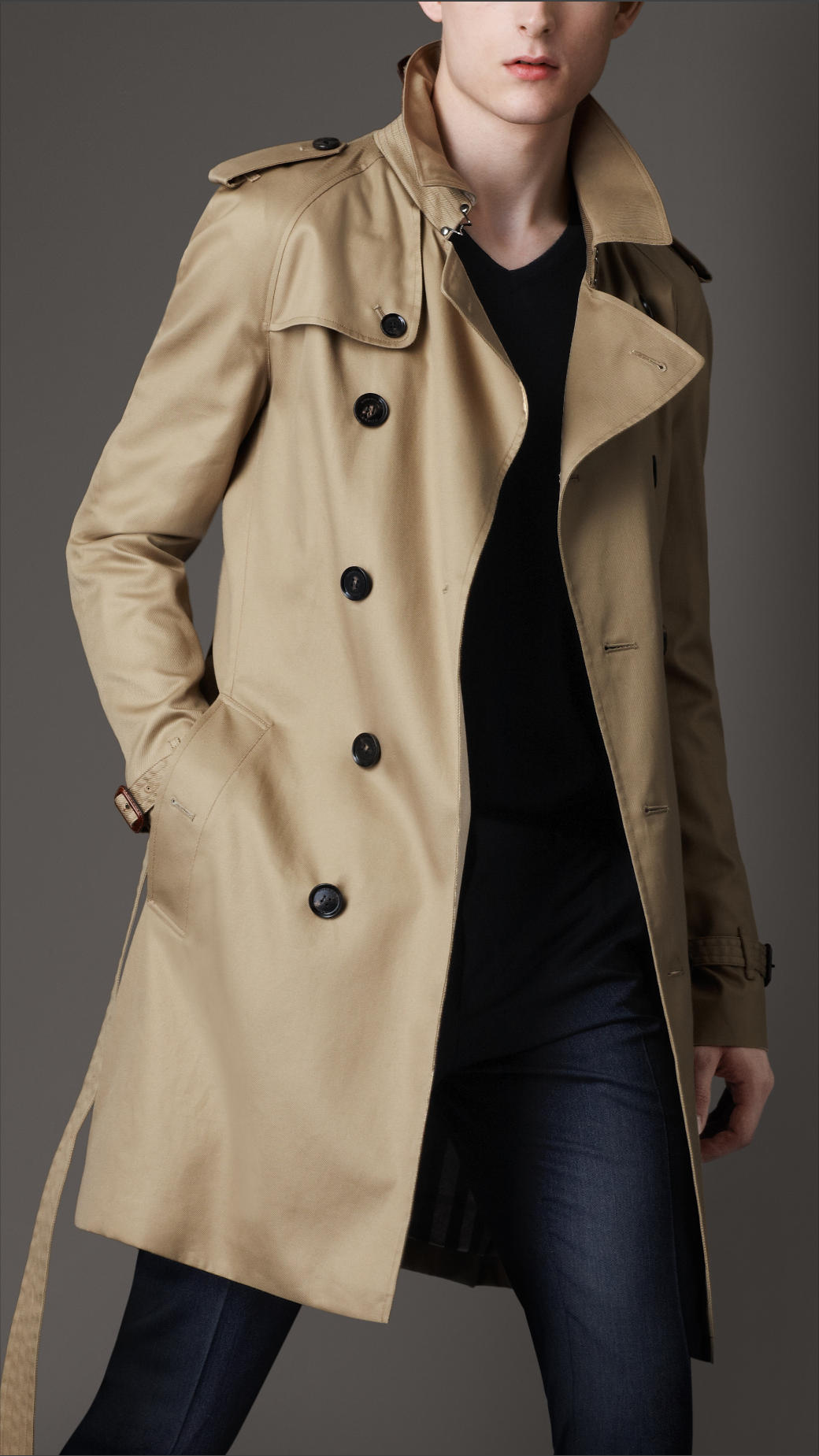 burberry mid length technical cotton trench coat in beige for men fallow lyst. Black Bedroom Furniture Sets. Home Design Ideas