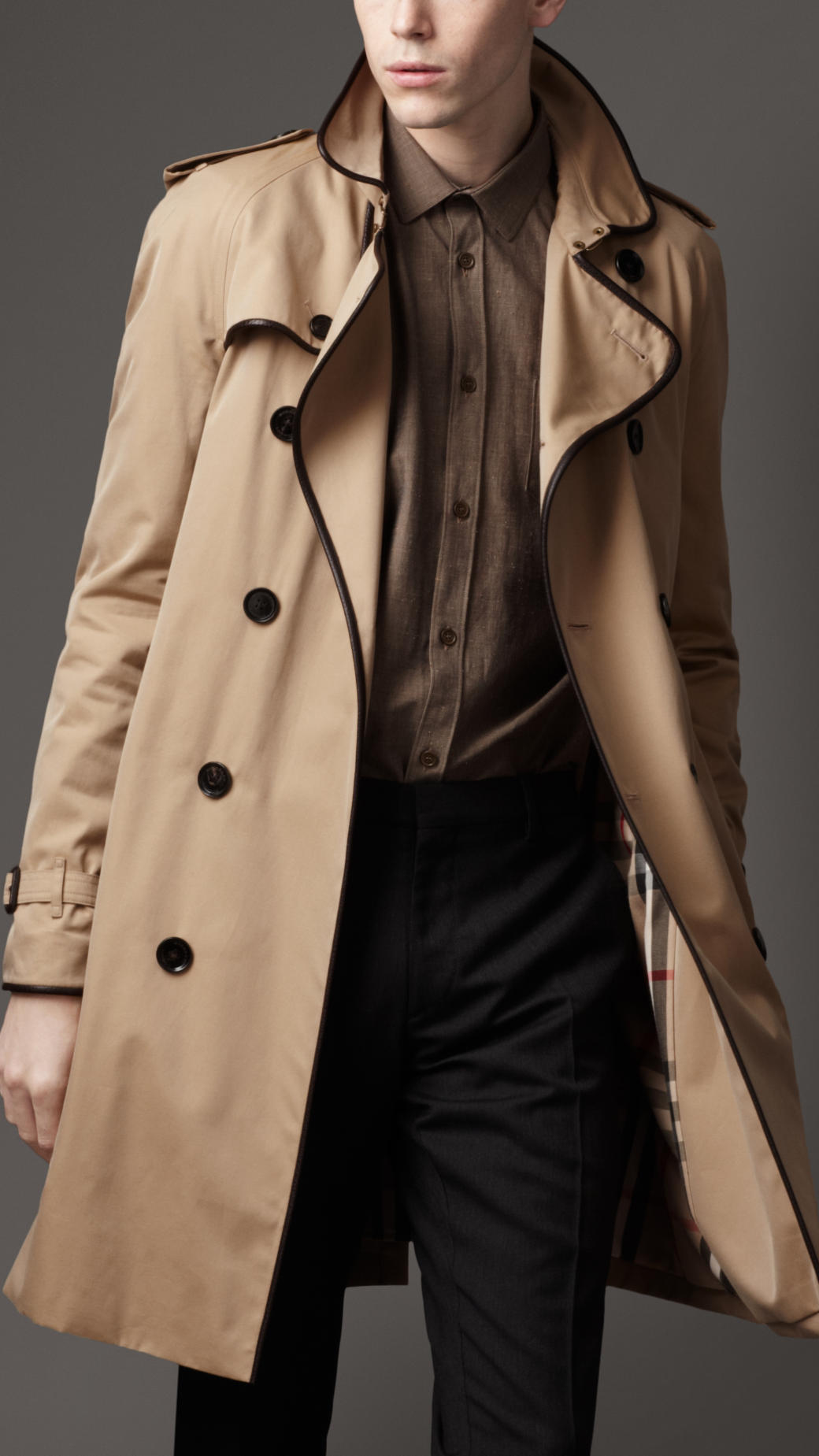 burberry leather bound trench coat in natural for men lyst. Black Bedroom Furniture Sets. Home Design Ideas