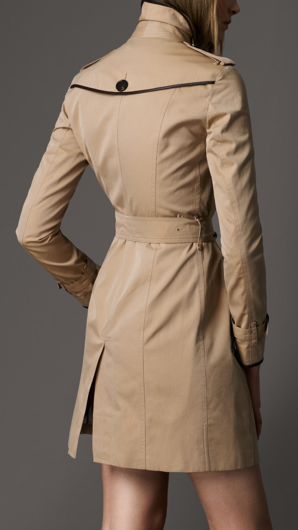 Lyst Burberry Leather Detail Trench Coat In Natural