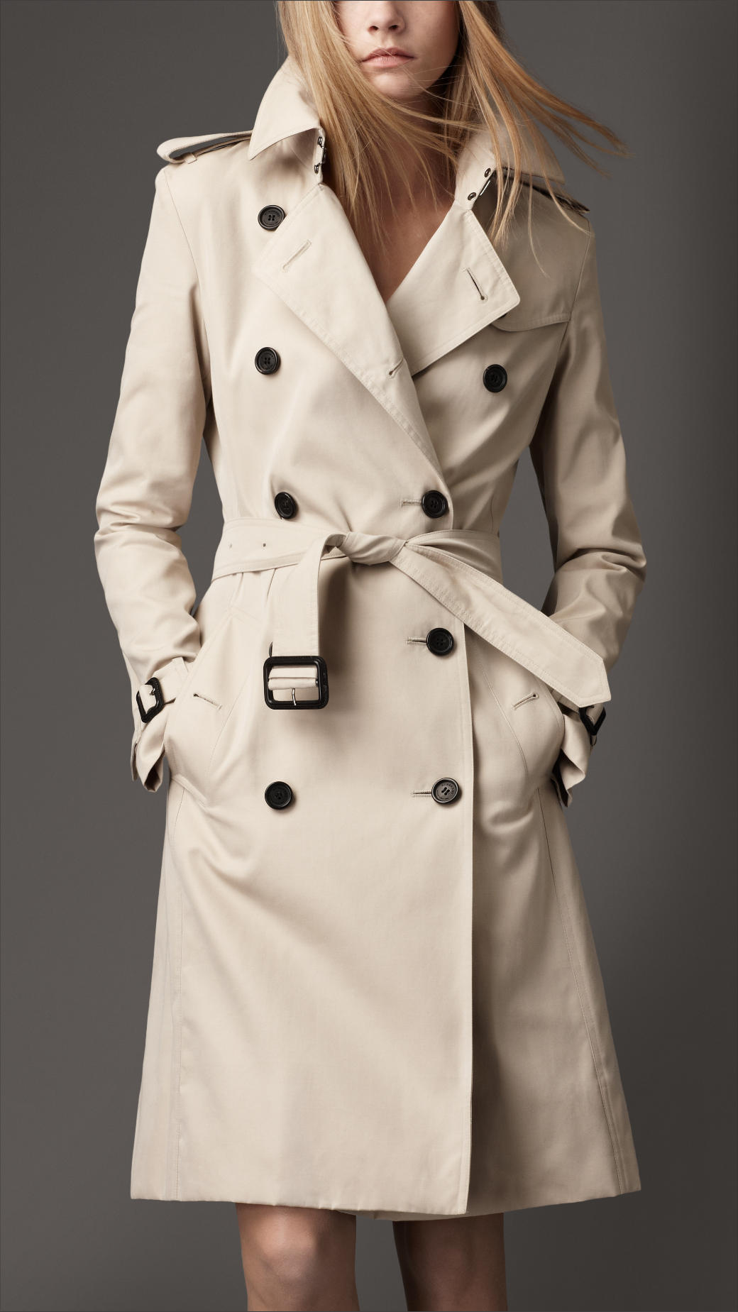 burberry long cotton trench coat in natural lyst. Black Bedroom Furniture Sets. Home Design Ideas